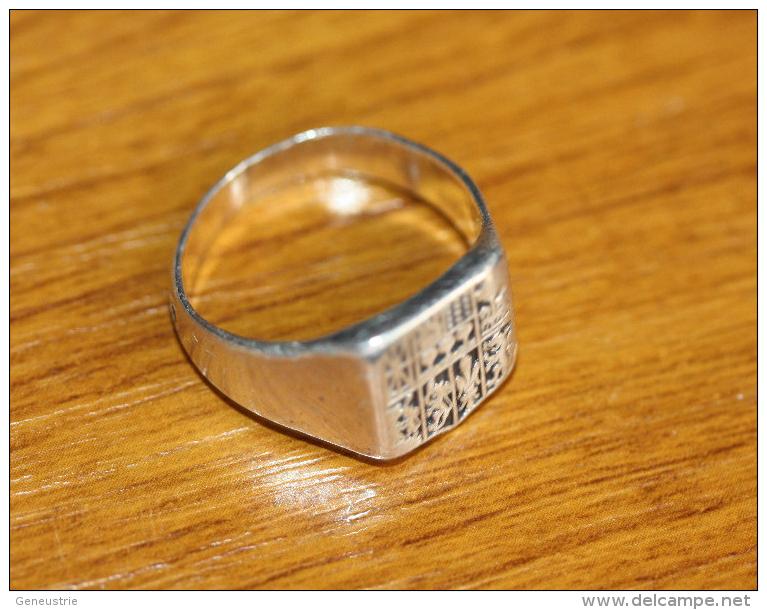 Bague Ancienne Argent Forme Chevalière Armoiries Du Pays Basque - Silver Ring - Anelli