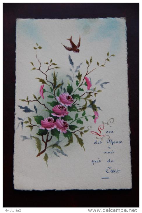 Carte Peinte : Oiseau Et Roses - Non Classés