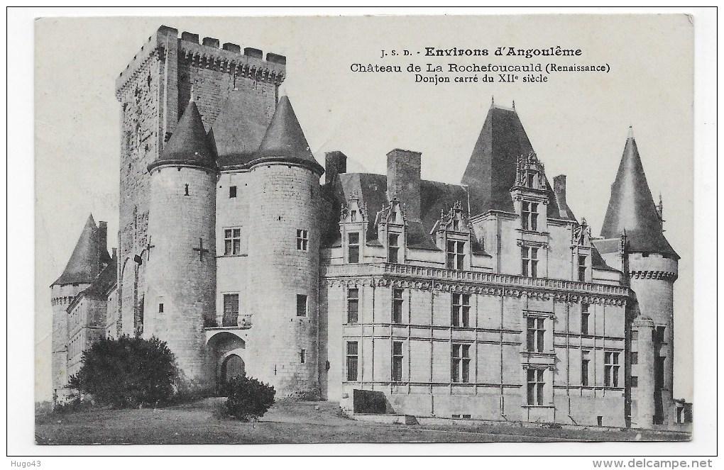 (RECTO / VERSO) LA ROCHEFOUCAULD EN 1914 - LE CHATEAU - BEAU CACHET - FORMAT CPA - Autres Communes