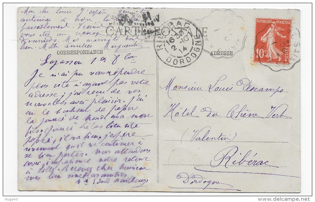 (RECTO / VERSO) LA ROCHEFOUCAULD EN 1914 - LE CHATEAU - BEAU CACHET - FORMAT CPA - France