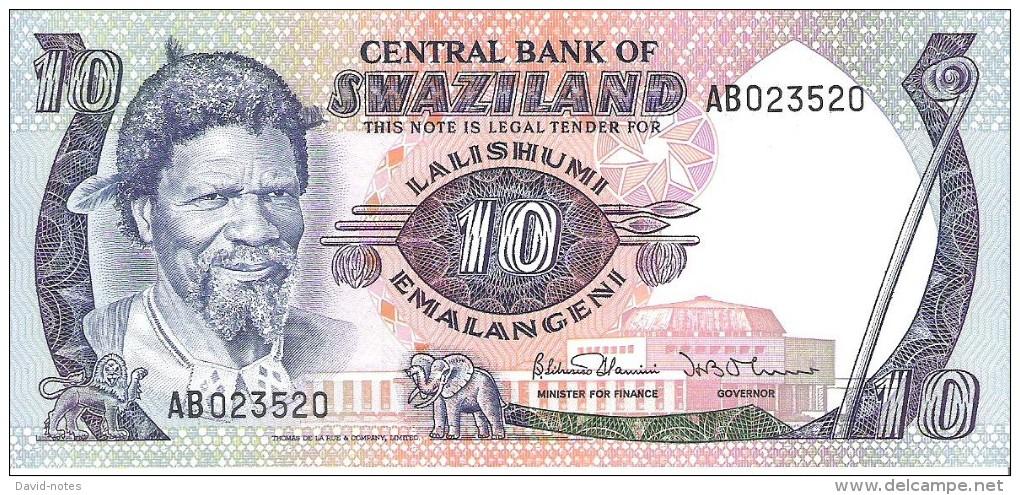 Swaziland - Pick 10 - 10 Emalangeni 1985 - Unc - Swaziland