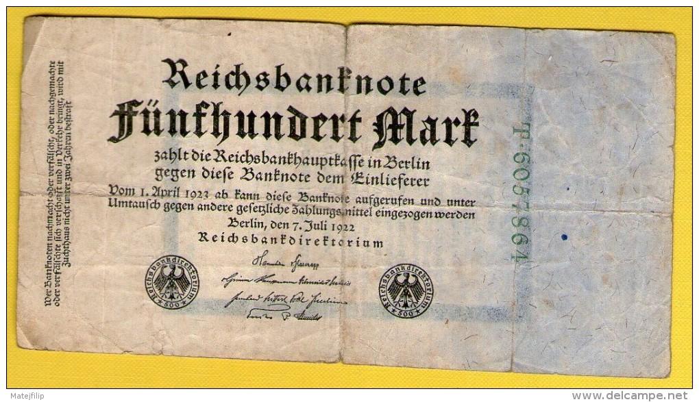 GERMANY 500 MARK 1922 .G. -  PROPAGANDA BANKNOTE - 1933-1945: Drittes Reich