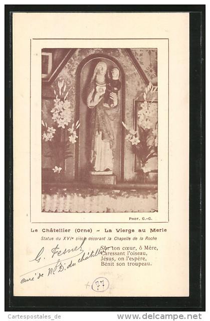 CPA Le Chatellier, La Vierge Au Merie, Statue Du XVIe Siecle Decorant La Chapelle De La Roche - France