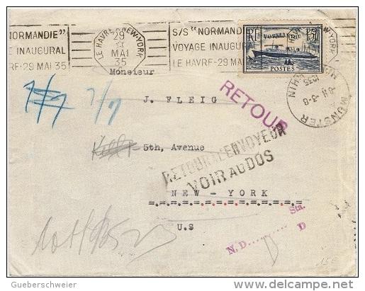 BAT-L25 - FRANCE Lettre Exp. Par Le Voyage Inaugural Du Paquebot Normandie Pour New York 1935 - France