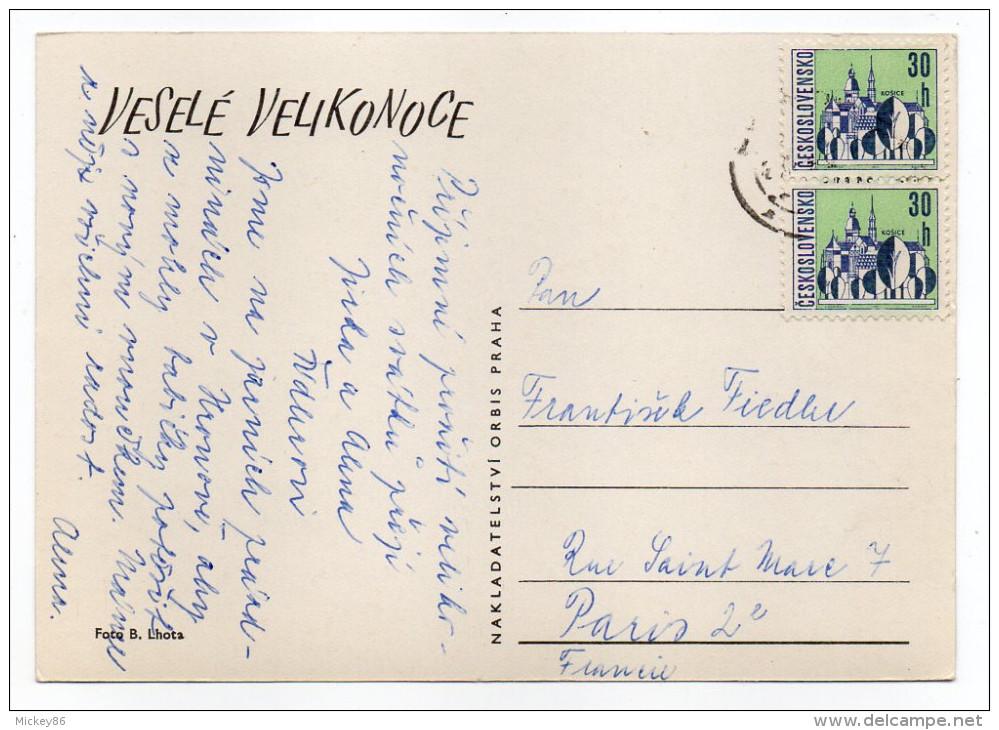 Joyeuses Pâques---Oeufs Décorés,fleurs Cpsm 15 X 10 Foto B.Lhota--carte Glacée-timbre - Pâques