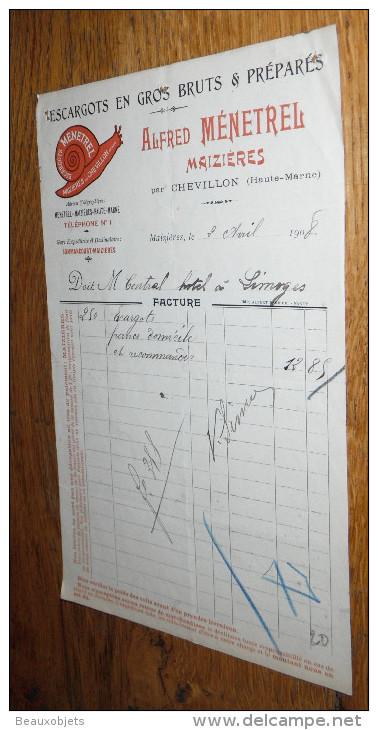 Escargot Escargots Facture 1908 MENETREL - Other Collections