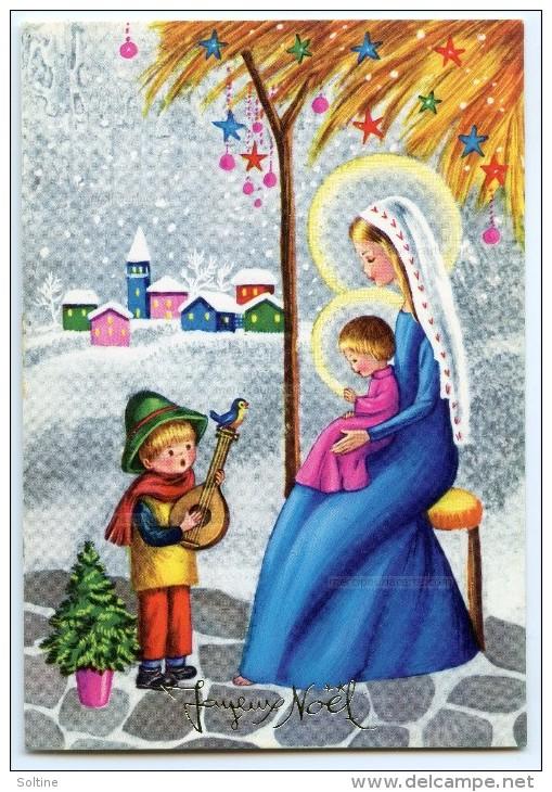 JOYEUX NOËL - Vierge Marie Tenant L'Enfant Jésus Sur Ses Genoux Devant Un Garçon Et Sa Mandoline - Non écrite - 2 Scans - Noël