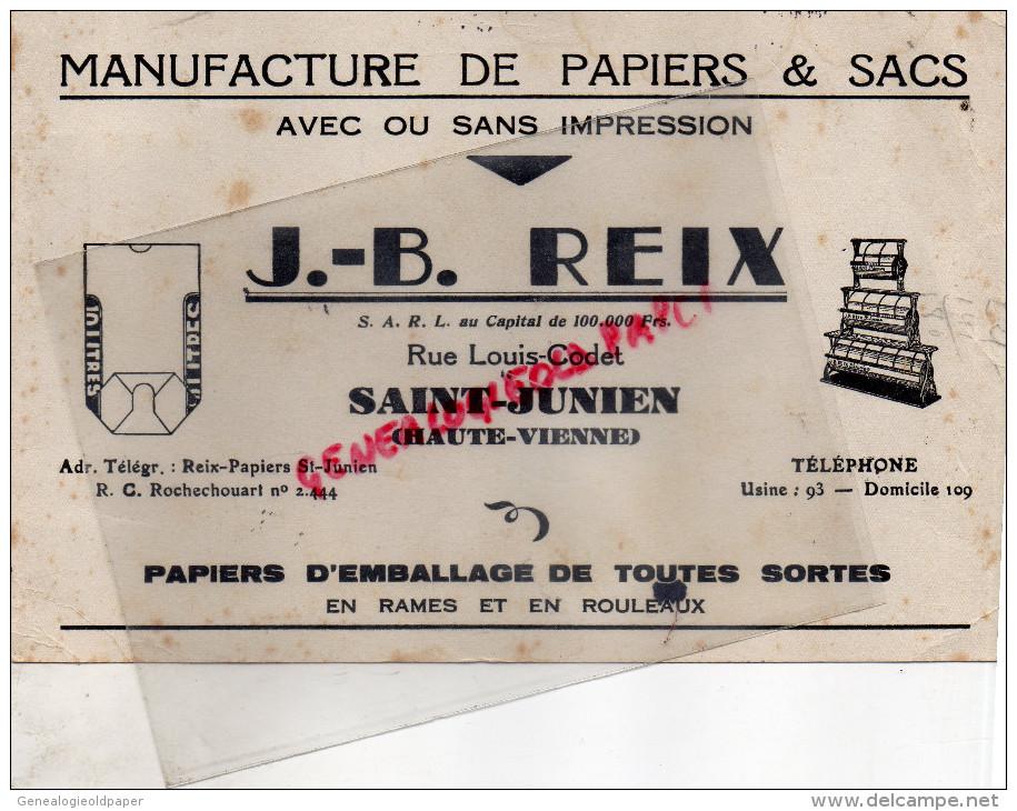87 - SAINT JUNIEN - BUVARD MANUFACTURE PAPIERS & SACS- J.B. REIX- RUE LOUIS CODET - - Stationeries (flat Articles)
