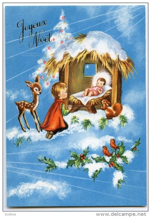 JOYEUX NOËL - Enfant à Genoux Devant La Crèche De Jésus, Faon écureuil Oiseaux Houx Neige - Non écrite - 2 Scans - Noël