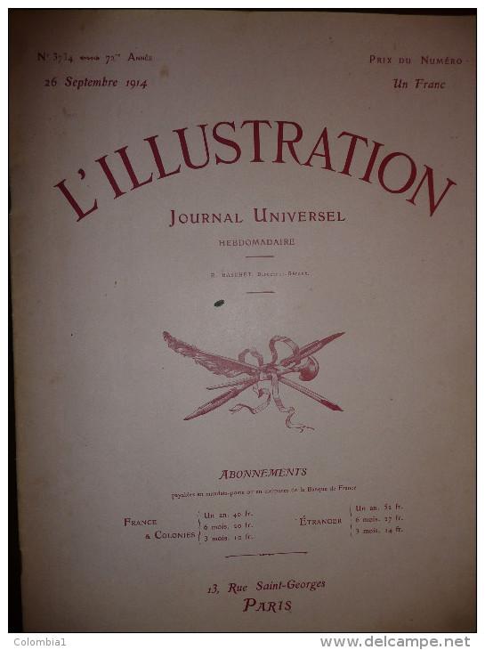 L'ILLUSTRATION N° 3734 Du 26 Septembre 1914 - Journaux - Quotidiens