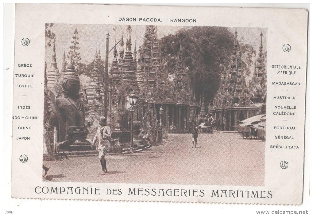 CARTE POSTALE DAGON PAGODA RANGOON COMPAGNIE DES MESSAGERIES MARITIMES - Myanmar (Birma)