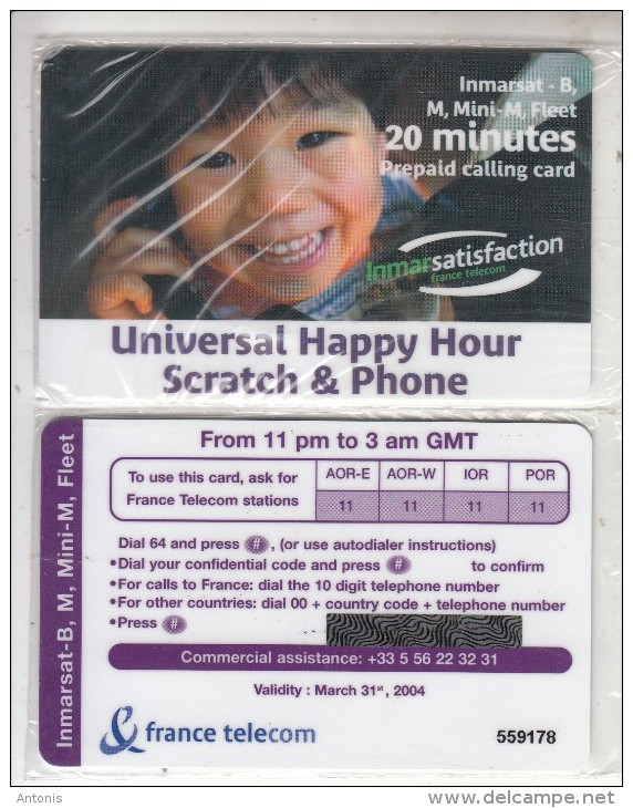 TAAF - France Telecom Satellite Prepaid Card 20 Min, Exp.date 31/03/04, Mint - TAAF - French Southern And Antarctic Lands