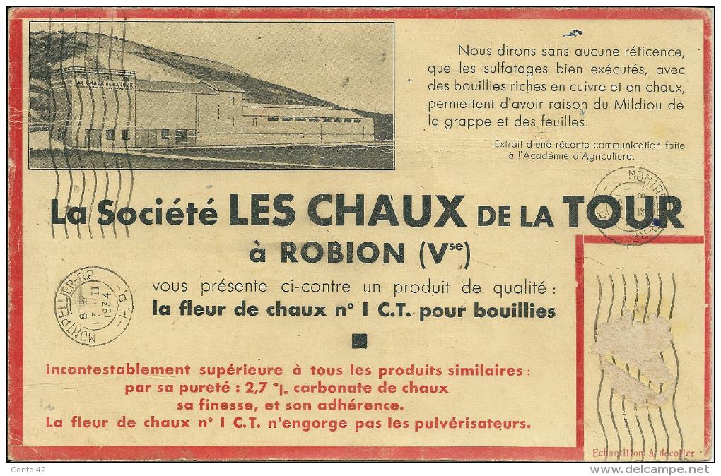 2 Eme 84 ROBION VAUCLUSE CHAUX DE LA TOUR  BUVARD MINES - Agriculture