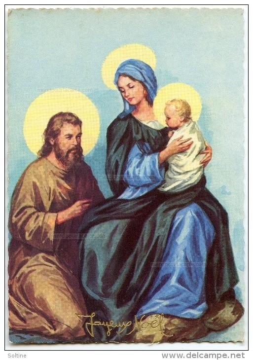 JOYEUX NOËL - La Sainte Famille - Joseph à Genoux Près De La Vierge Marie Tenant Jésus - Non écrite - 2 Scans - Noël