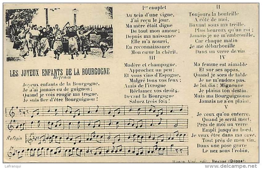 Themes Div -ref K931- Musique -partition Musicale -paris - Joyeux Enfants De La Bourgogne -editeur Beaune  - - Musique Et Musiciens