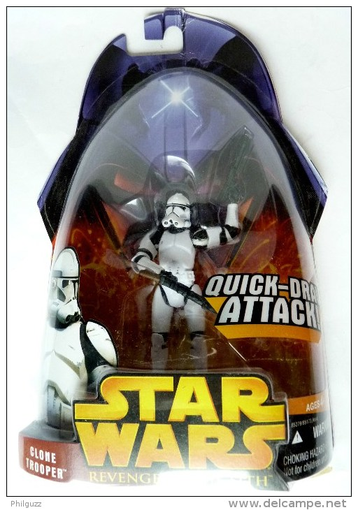 BLISTER FIGURINE STAR WARS 2005  REVENGE OF THE SITH CLONE TROOPER BLANC QUICK DRAW ATTACK ! - Episode II