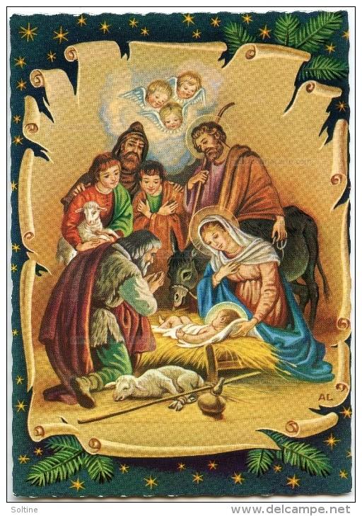 La Nativité  - Des Bergers Et Têtes Ailées En Adoration Devant Jésus - Marie Joseph, Mouton, âne - Non écrite - 2 Scans - Noël