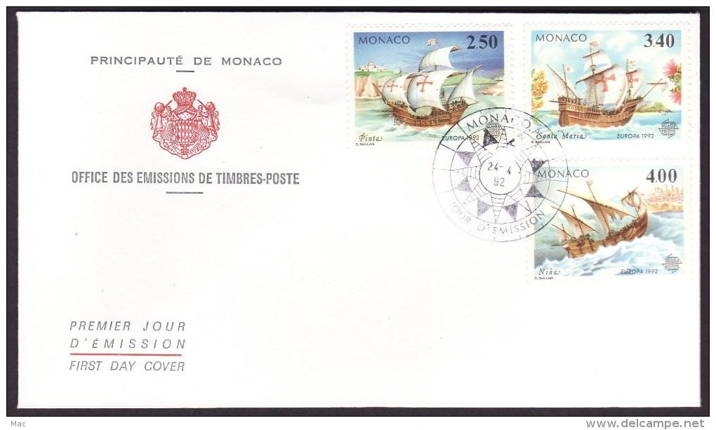 Monaco #1814-16 F-VF First Day Cover - Columbus, Ships - Cristoforo Colombo