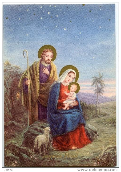 JOYEUX NOËL - A La Belle étoile Vierge Marie Sur Un Rocher Tient L'enfant Jésus, Joseph Un Mouton - Non écrite - 2 Scans - Noël