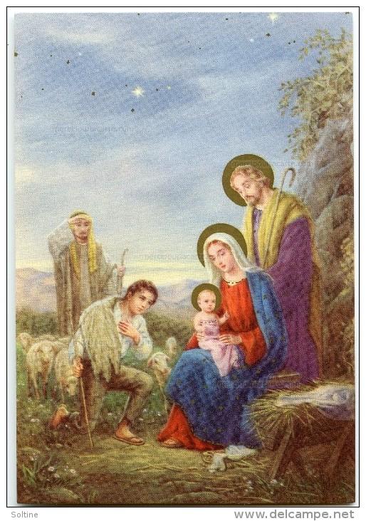 JOYEUX NOËL - Bergers Et Moutons Visitent Jésus Nouveau-né, Vierge Marie Et Joseph - Non écrite - 2 Scans - Noël