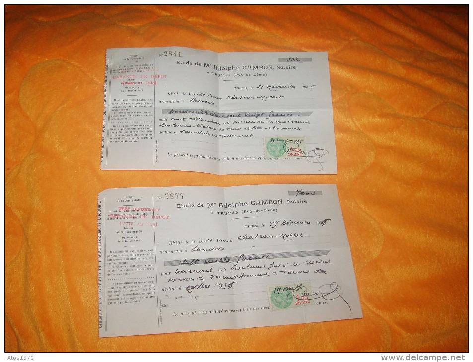 LOT DE 2 RECUS DE 1936. / ETUDE DE Me ADOLPHE CAMBON, NOTAIRE. / TAUVES PUY DE DOME. / TIMBRE FISCAL. - France