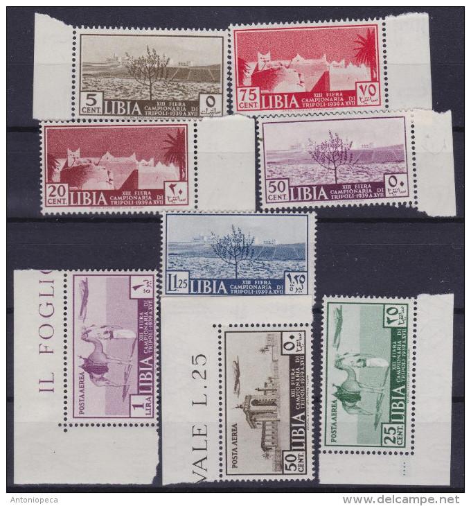 COLONIE ITALIANE LIBIA 1939 13ª Fiera Di Tripolicon PA / Nuovi Con TL / 2v Di PA Gomma Integra Sassone 158/A40 - Libye