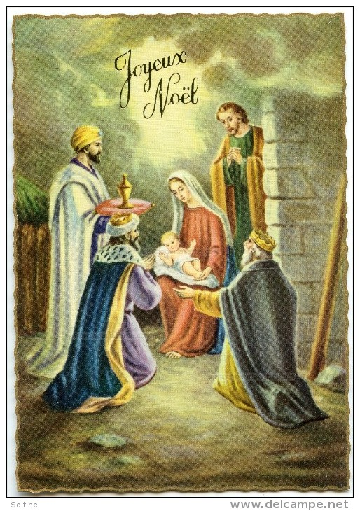 JOYEUX NOËL - Dentelée Bordure Dorée - Rois Mages, Enfant Jésus, Joseph Et Vierge Marie - Non écrite - 2 Scans - Noël