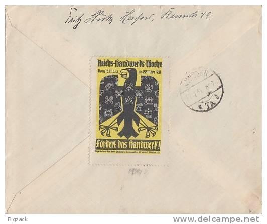 DR Brief Eilbote Mif Minr.414,418 Herford 21.2.31 Vignette Reichs-Handwerker-Woche - Deutschland