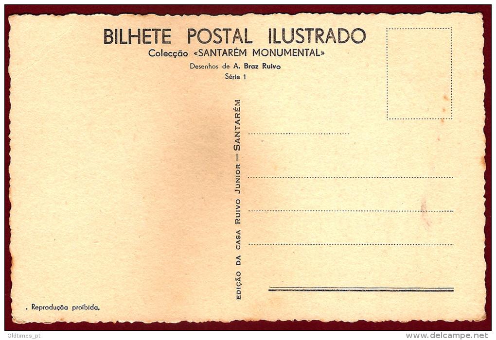 SANTAREM - IGREJA DA GRACA - TUMULO GOTICO DE D. PEDRO DE MENEZES - DESENHO DE A. BRAZ RUIVO - 1938 ART SIGNED PC - Santarem