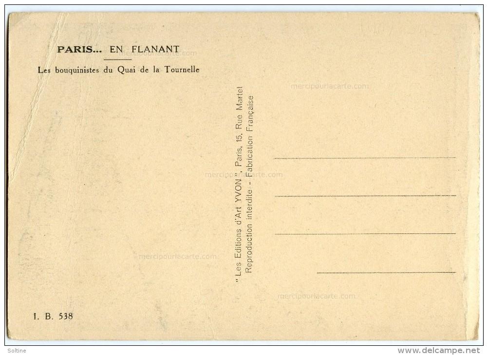 PARIS... En Flânant - Les Bouquinistes Du Quai De La Tournelle - Non écrite - 2 Scans - Petits Métiers à Paris