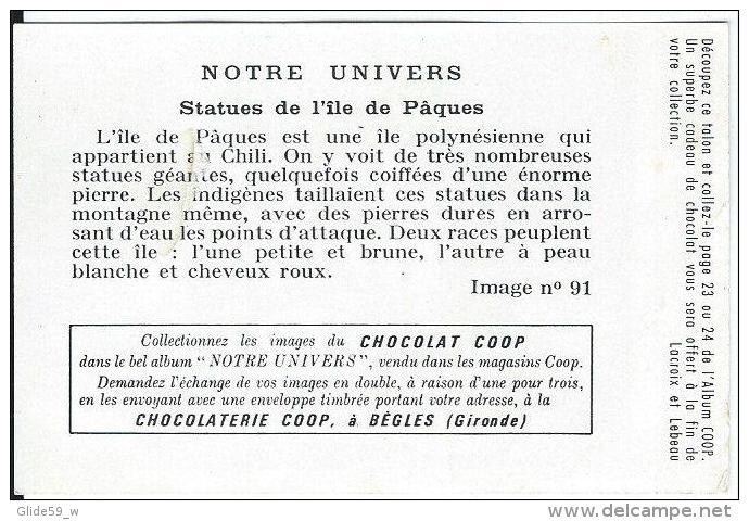 Chromo - Chocolat COOP - Notre Univers - N° 91 - Statues De L´Île De Pâques - Autres