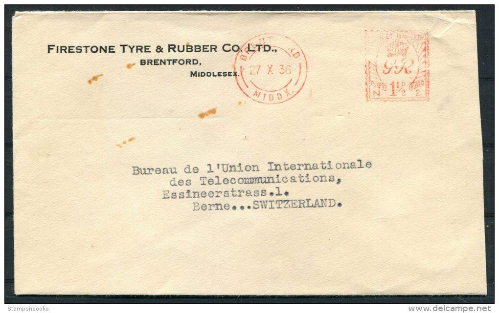 1936 GB Brentford Firestone Tyre Co Meter Mark Cover - Bureau International De L'Union Telegraphique, Berne, Switzerland - Covers & Documents