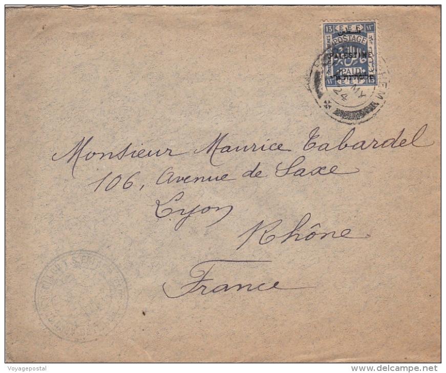 1924- Lettre Palestine Bethlehem EEF Pour La France >> Archiconfrérie Du T.S Enfant Jesus - Palestine