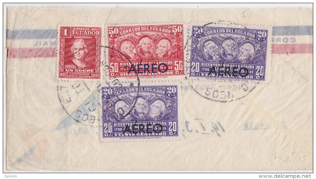 ECUADOR - EQUATEUR - Air Mail Cover Quito To Muenchen 1937 - Overprinted Stamp Aéreo - Timbre Surchargé - Darwin - Ecuador