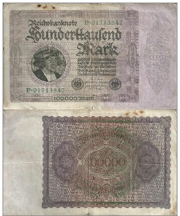 Germany - Alemanha - Pick 83 - 83a - 100.000 Mark - Reichsbank - (01-02-1923) - 50000 Mark