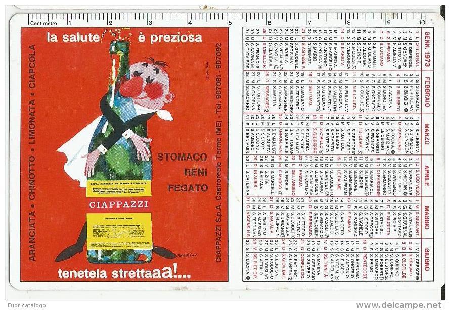 CALENDARIETTO PLASTIFICATO PUBBLICITARIO  ACQUA E BIBITE CIAPPAZZI -CASTROREALE TERME(MESSINA) ANNO 1973 - Calendriers