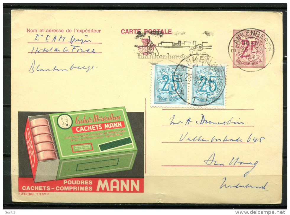 "Belgien 1971 Werbepostkarte Nr.Publibel 2305 F Mit Zusatzfrankatur ""bef.Blankenberge-Den Haag,Nederlande""1 GS Used,bef. - Publibels"