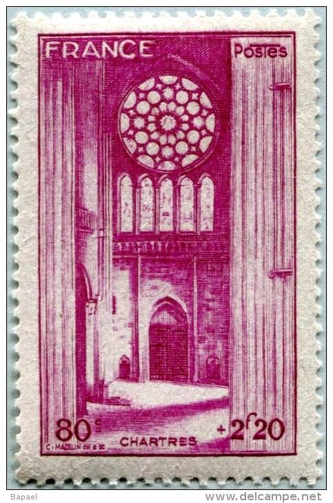 N° Yvert 664 - Timbre De France (1944) - MNH - Cathédrale Chartres (DA) - Nuovi