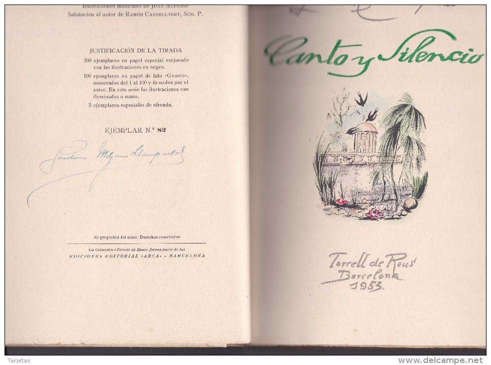 CANTO Y SILENCIO DE GUILLERMO MITJANS DE TORRELL DE REUS AÑO 1953 DE TIRADA 100 Y DEDICADO CON FIRMA DEL AUTOR - Libros, Revistas, Cómics
