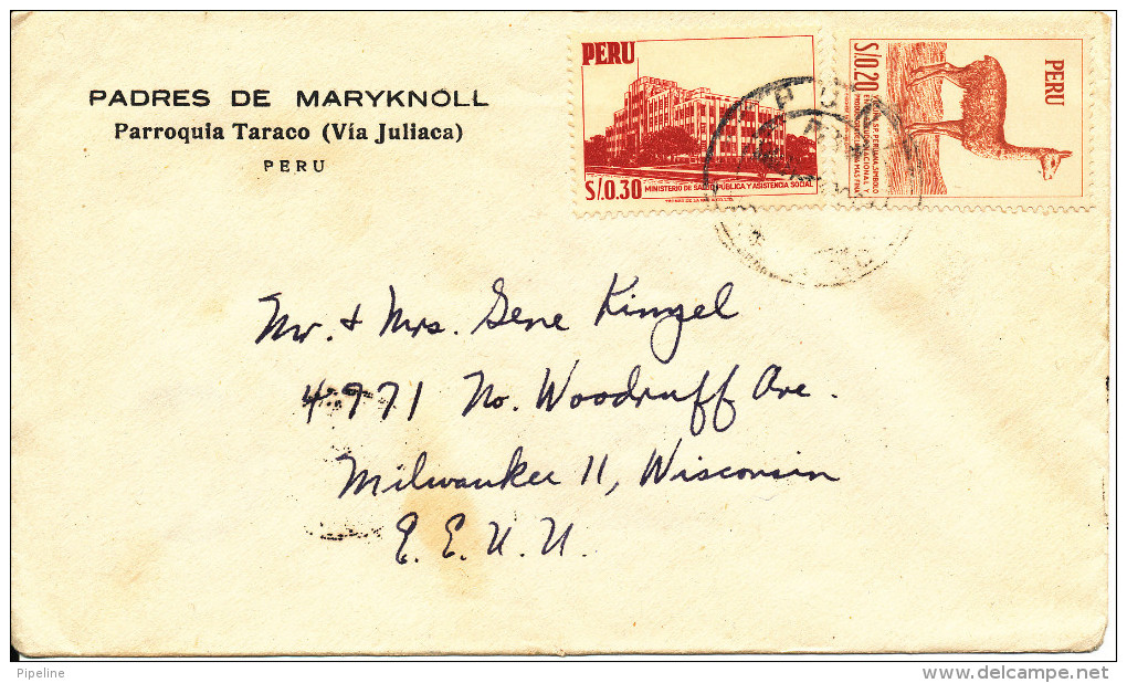 Peru Cover Sent To USA 10-10-1961 - Peru