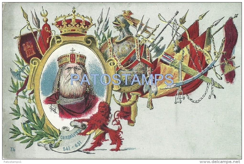24234 ROYALTY SPAIN ART CHINDASVINTO KING OF THE VISIGOTHS HISPANIA 641 - 651 POSTAL POSTCARD - Familles Royales