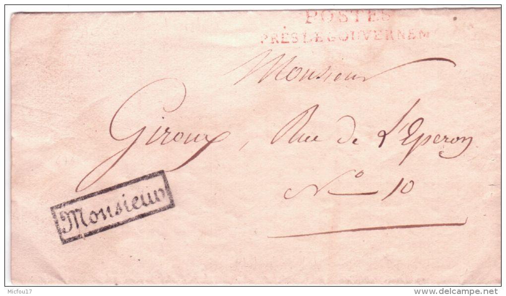 """1816- Lettre En Franchise \"""" POSTES / PRES LE GOUVERNEMENT + MONSIEUR Encadré - 1801-1848: Précurseurs XIX"""