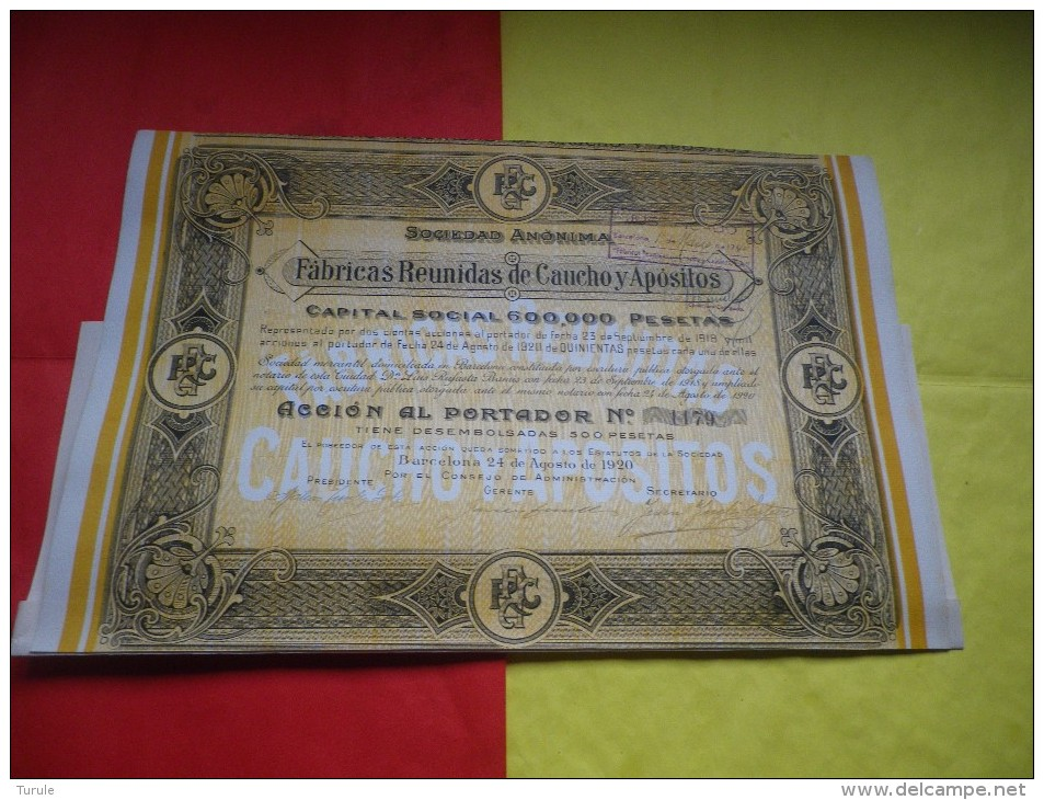 FABRICAS REUNIDAS DE CAUCHO Y APOSITOS (1920) BARCELONE,ESPAGNE - Shareholdings