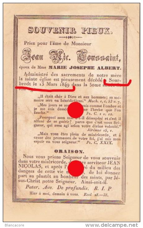 Sourbrodt Waimes 1849 Jean Nicolas TOUSSAINT époux De Marie Josephe ALBERT  / RARE - Décès