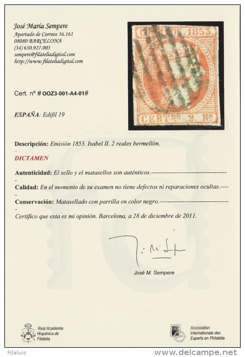 02112 España Edifil 19 O Catalogo 4675,- Euros - Usados