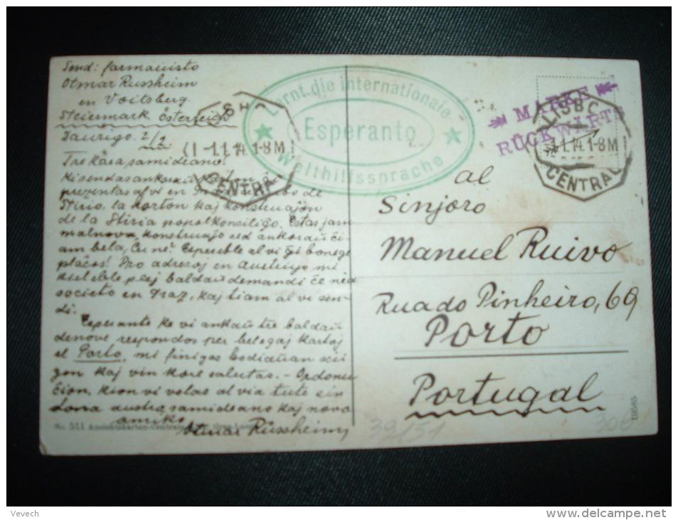 CP AUTRICHE Pour PORTUGAL Obl.1.1.14 LISBOA CENTRAL + Cachet Vert Esperanto Lernt Die Internationale Welthilfssprache - Esperanto