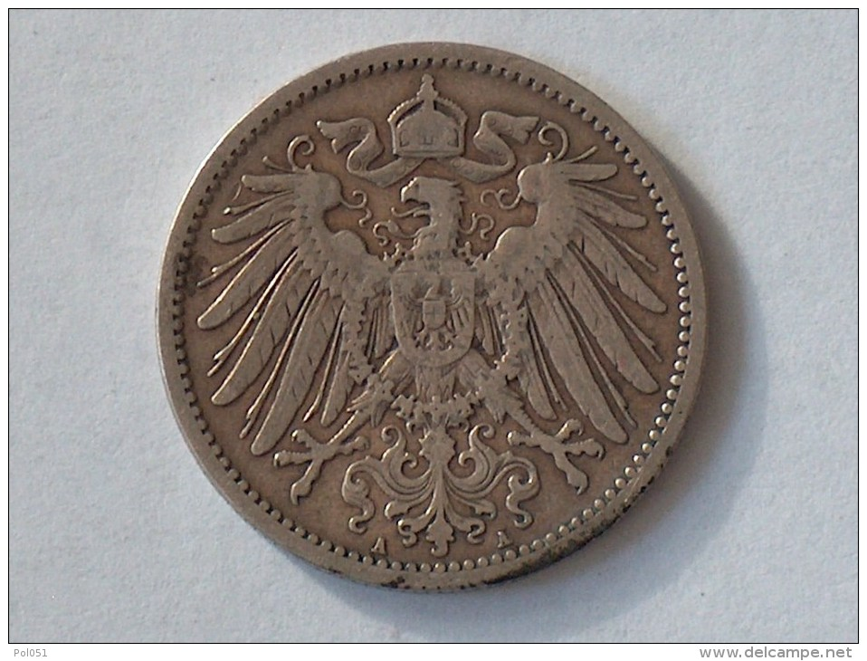 ALLEMAGNE 1 MARK 1896 A ARGENT SILVER Germany Deutschland Ein - [ 2] 1871-1918: Deutsches Kaiserreich