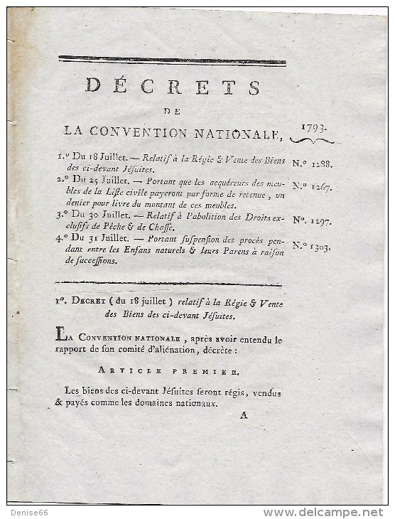 18/31 Juillet 1793  Vente Des Biens Des JÉSUITES, ABOLITION Des Droits De PÊCHE De CHASSE,procès Entre Enfants Naturels - Documentos Históricos