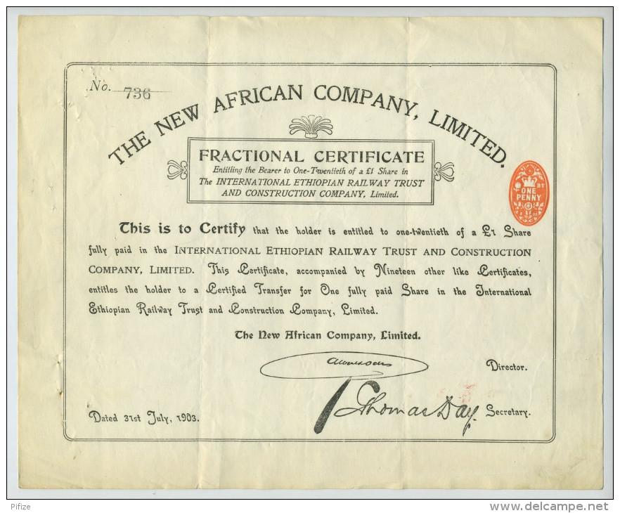 International Ethiopian Railway Trust & Construction Co. 20th Of A £1 Share. 1903. Chemin De Fer éthiopien. - Chemin De Fer & Tramway