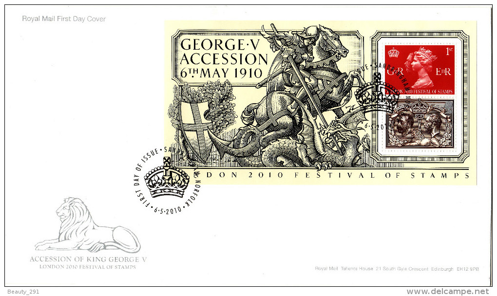 GREAT BRITAIN 2010. ACCESSION OF KING GEORGE V SHEET FDC - FDC